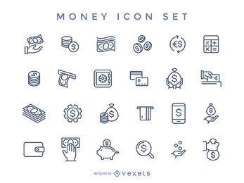Schlaganfall-Geld-Icon-Set