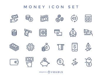 Stroke money icon set