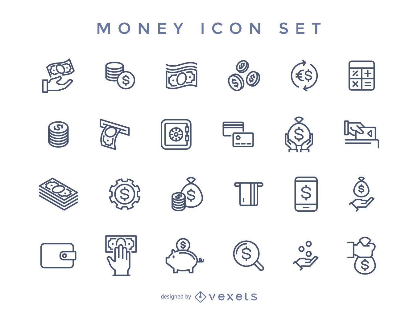 Stroke money icon set