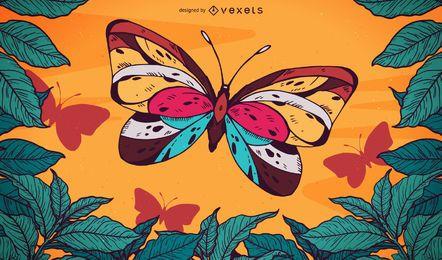 Borboleta ilustrada, voando de fundo