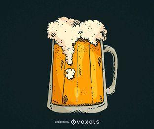 Caneca de cerveja desenhada de mão