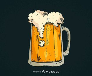 Jarra de cerveza dibujada a mano