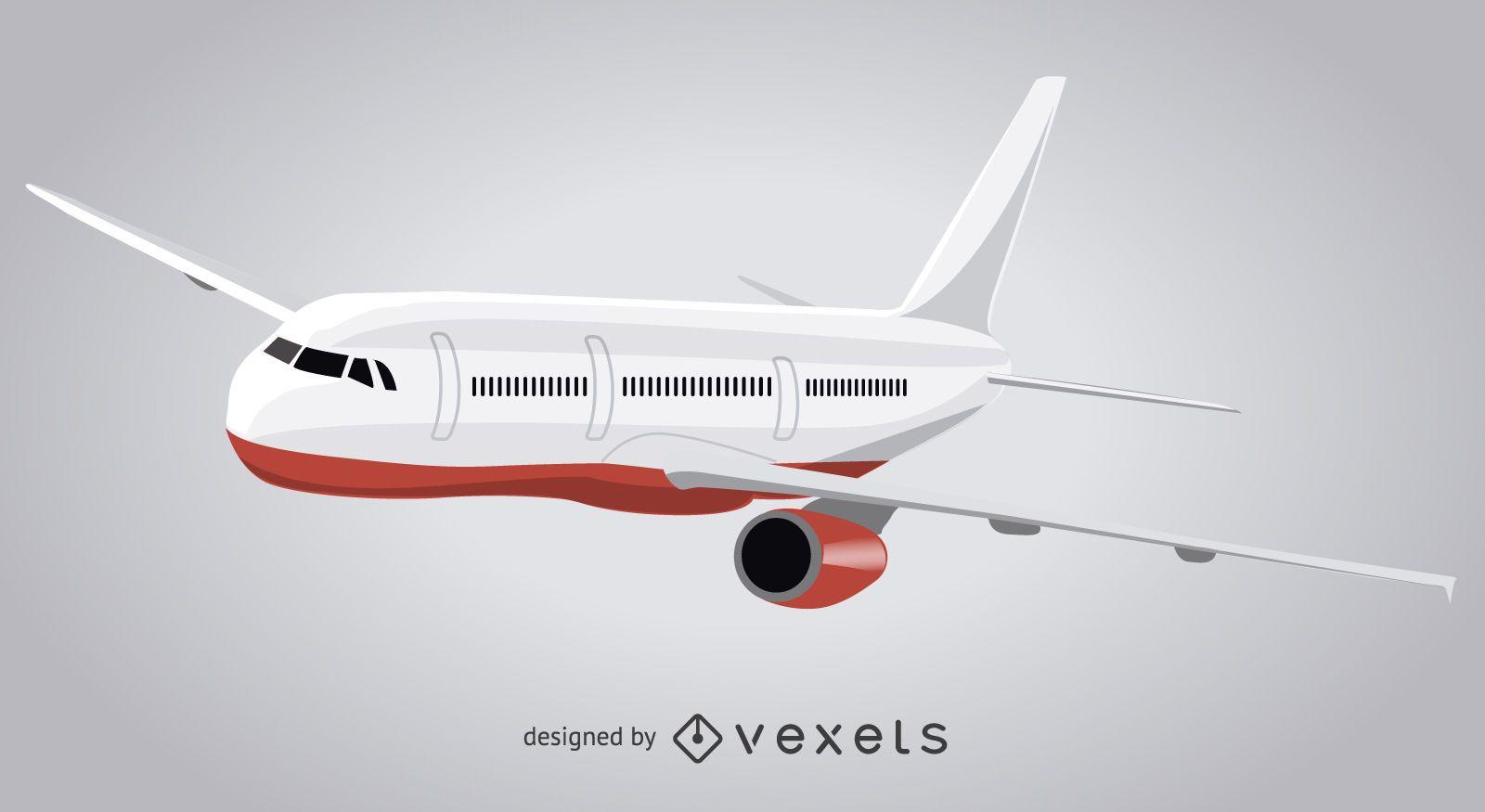 Isolated plane flying illustration