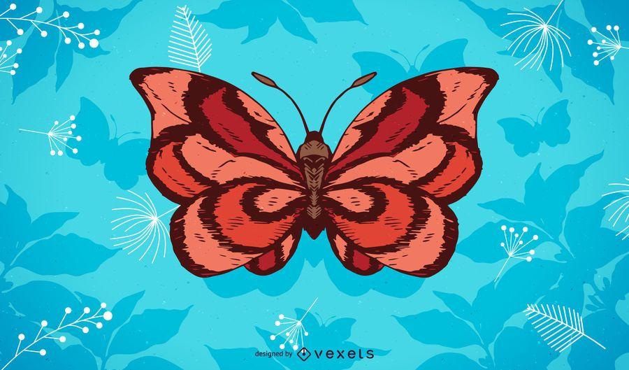 Fondo de ilustración de mariposa