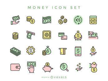 Coleção de ícones de dinheiro de acidente vascular cerebral