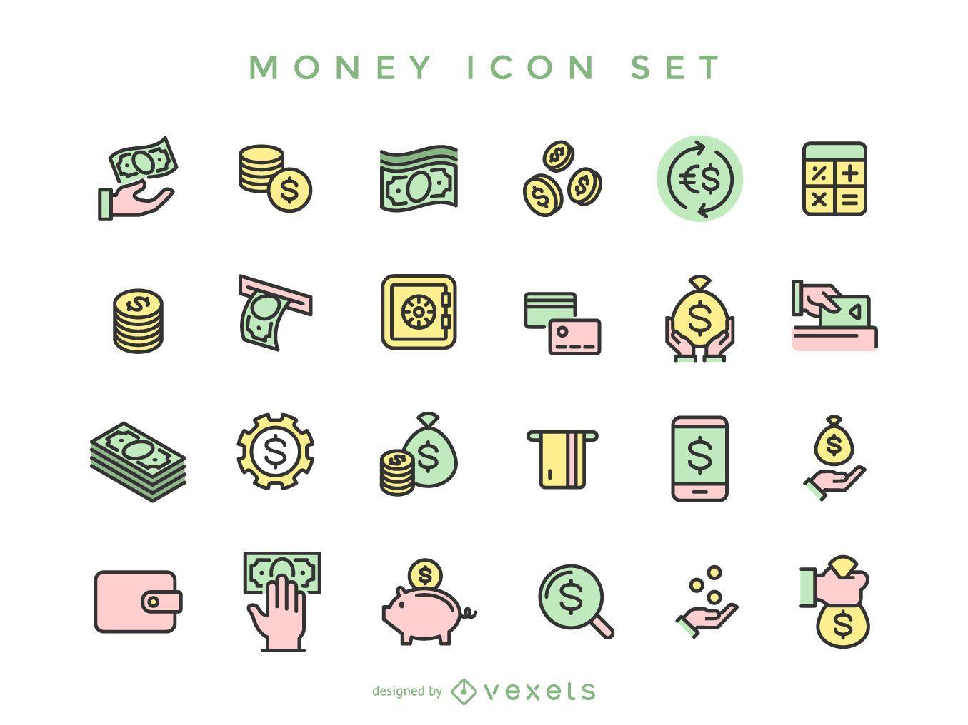 Colección de iconos de dinero de trazo