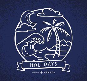Etiqueta de férias com ondas e palmeiras