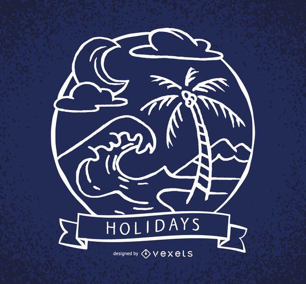 Etiqueta de vacaciones con olas y palmeras.