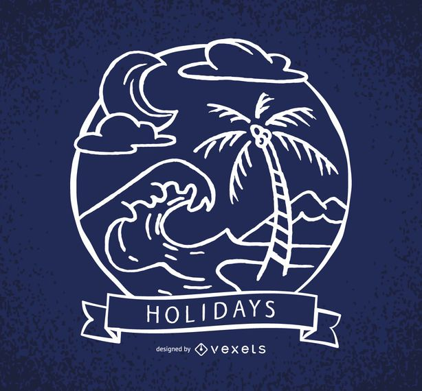 Holidays label with waves and palm trees
