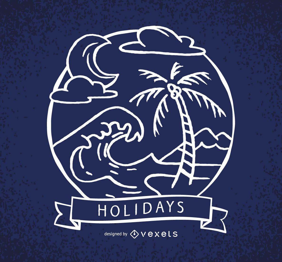 Rótulo de feriados com ondas e palmeiras