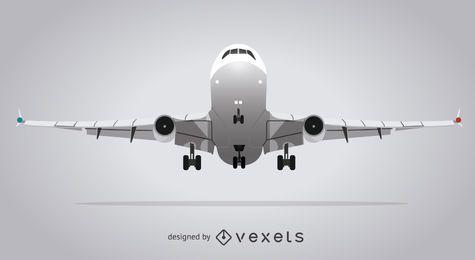 Ilustración de avión aislado gris