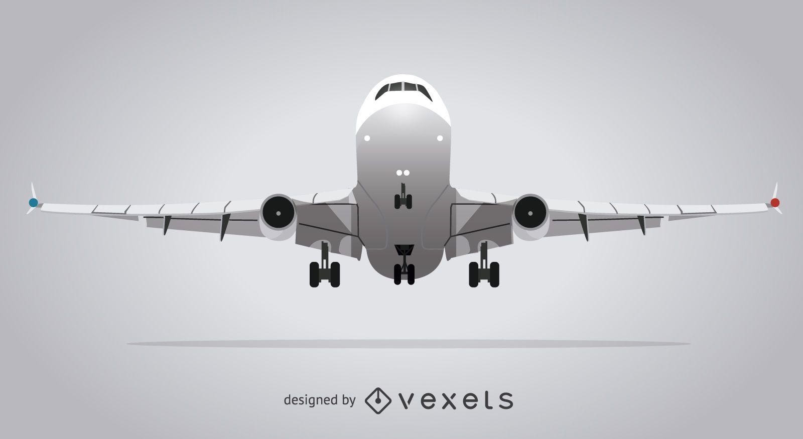 Ilustración de avión gris aislado