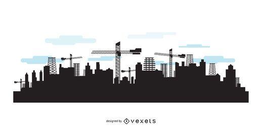 Skyline da cidade com silhuetas de construção