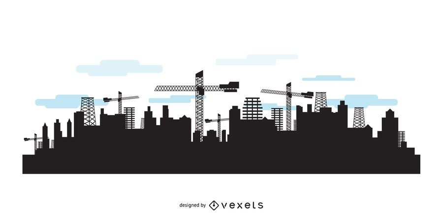 City skyline with construction silhouettes