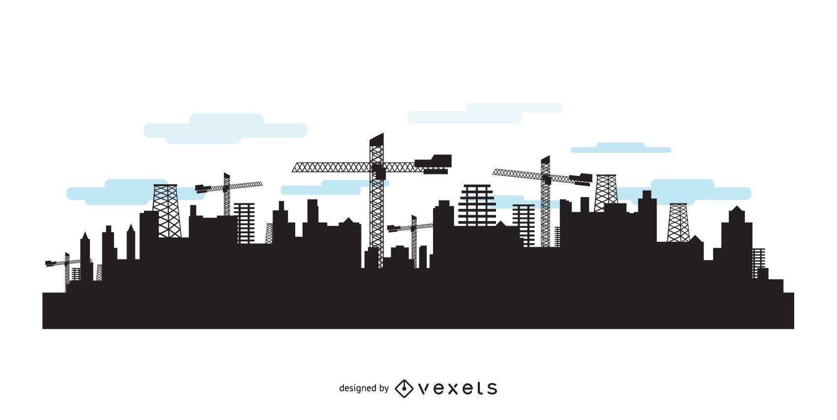 Horizonte da cidade com silhuetas de construção