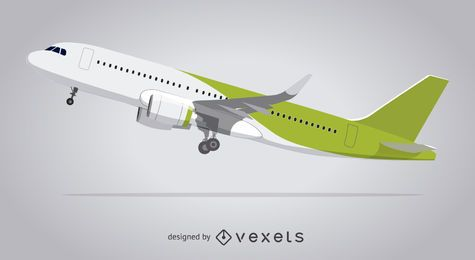 Illustrated airplane taking off