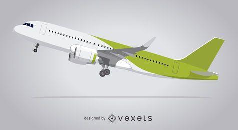 Ilustrado, avión, despegar