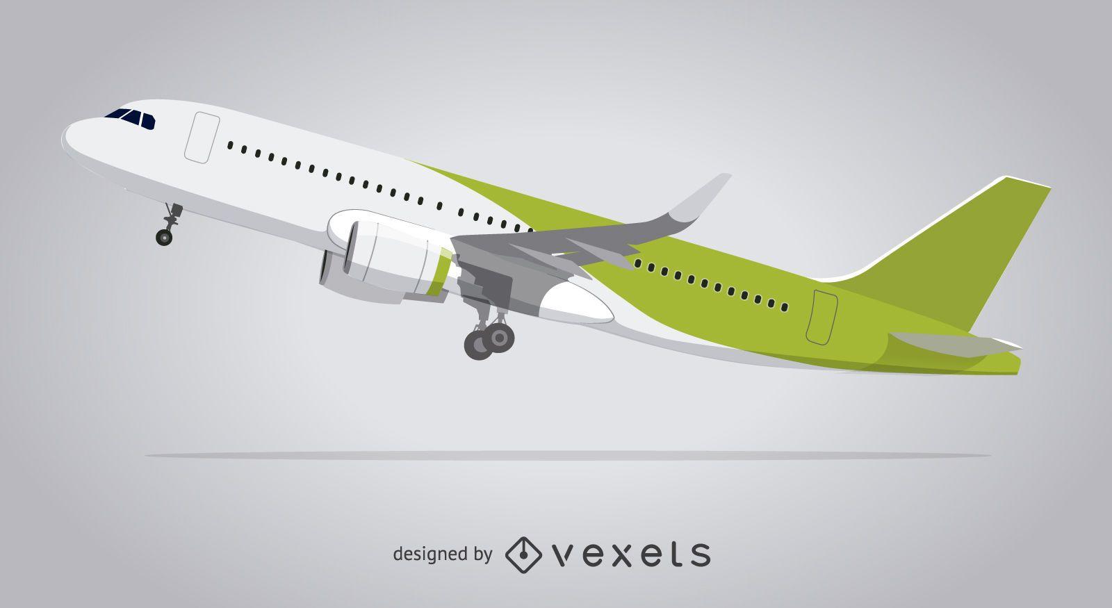 Avião ilustrado decolando