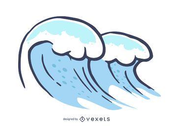 Mão ilustrada ondas