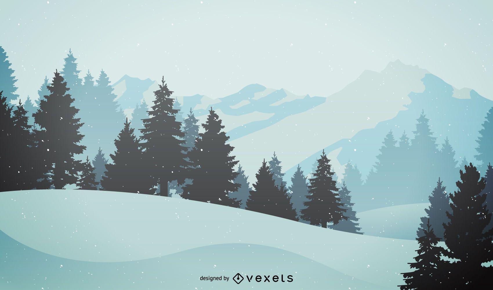 Ilustração de paisagem montanhosa de inverno