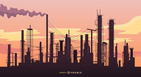 Paisaje industrial con fábricas.