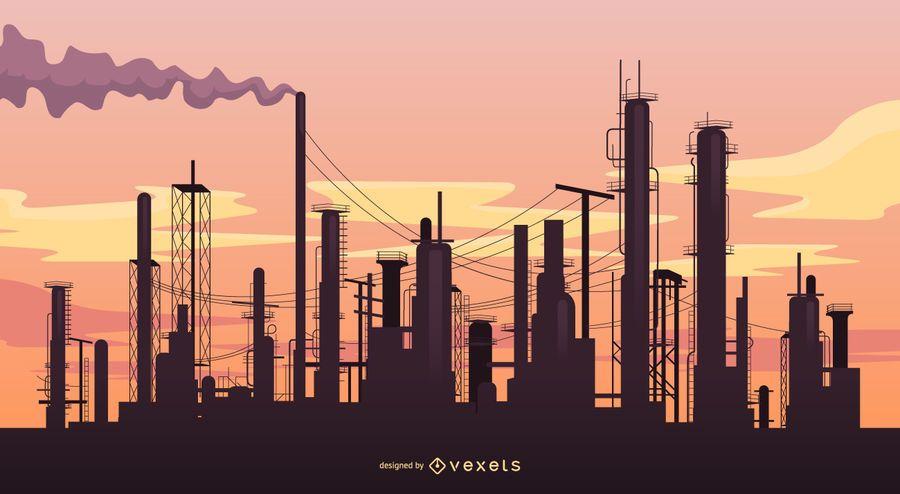 Paisaje industrial con fábricas