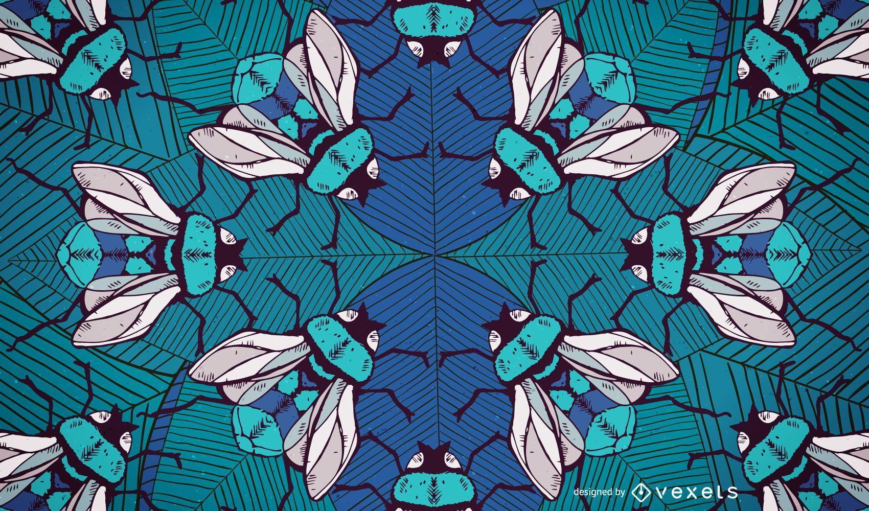Diseño ilustrado de fondo de abejorros