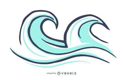 Ilustração de ondas de surf isoladas