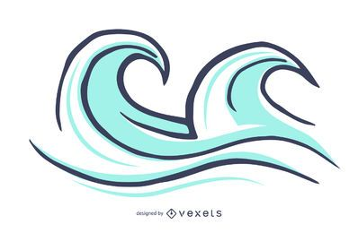 Ilustración de olas de surf aislado