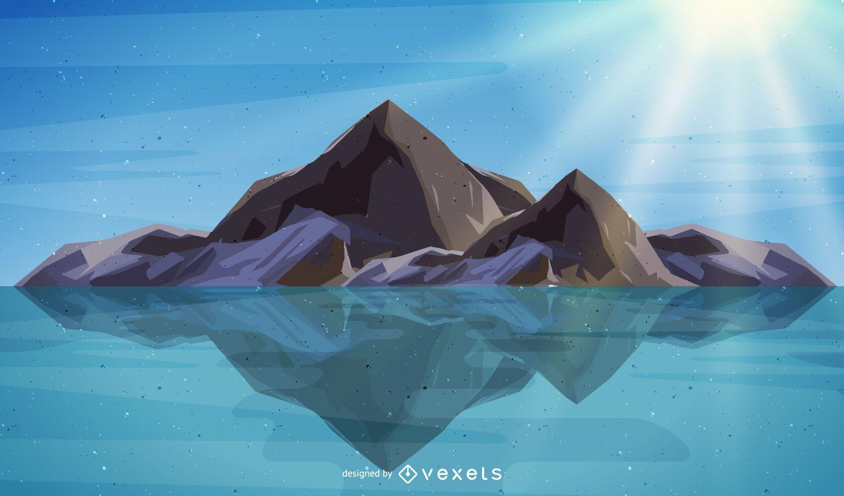 Diseño de ilustración de paisaje de montaña