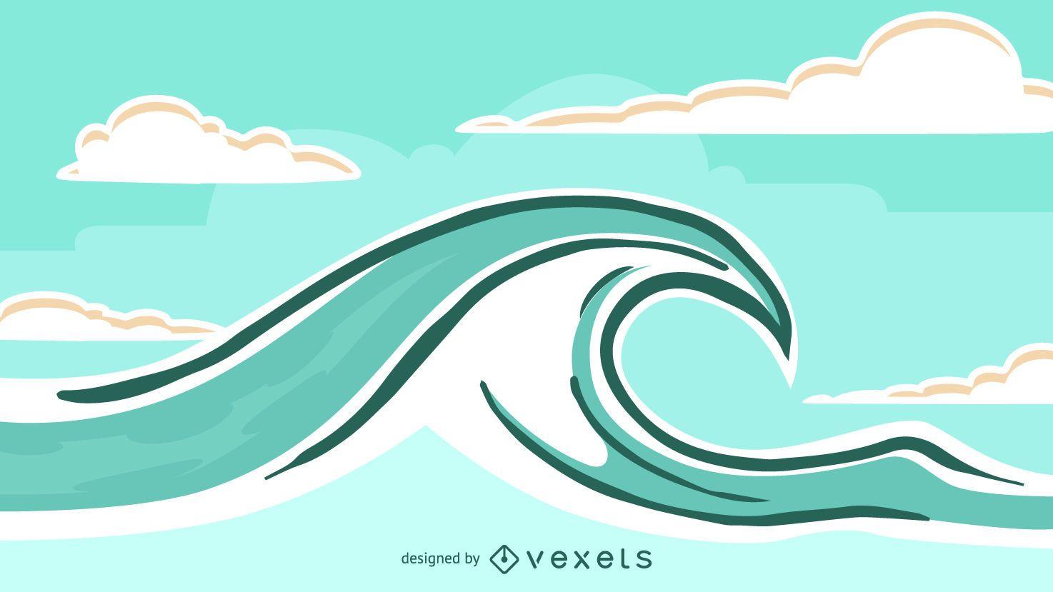 Landscape Illustration Vector Free: Waves Landscape Illustration