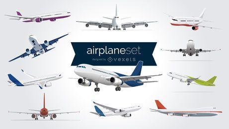 Conjunto de aviões ilustrados