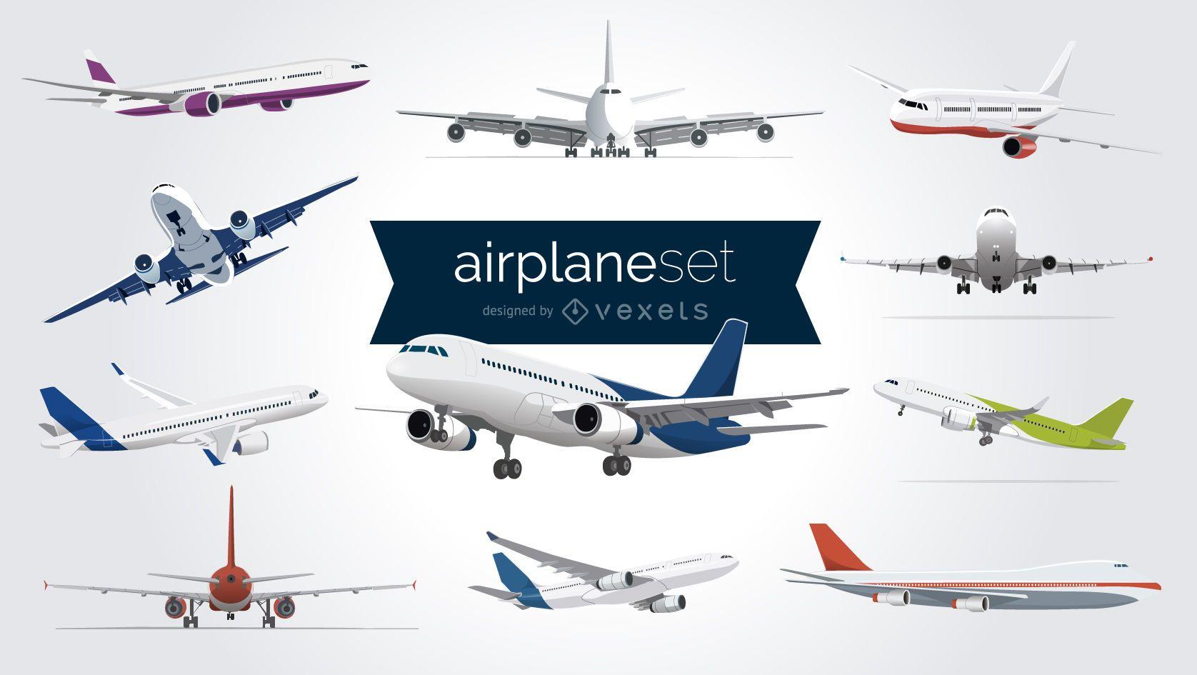 Conjunto de aviones ilustrados.