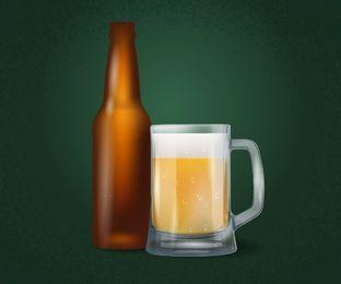 Botella de cerveza realista y taza