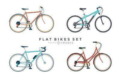 Conjunto de 4 ilustraciones de bicicletas planas.