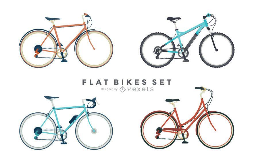 Conjunto de 4 ilustraciones de bicicleta plana