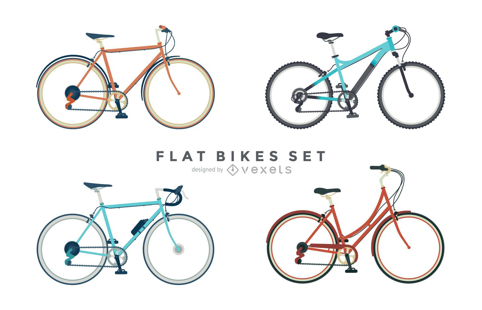 Set of 4 flat bicycle illustrations