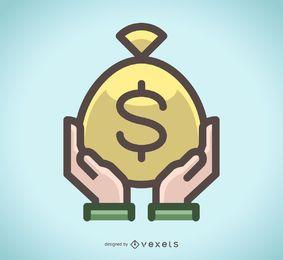Saco de ícone de dinheiro