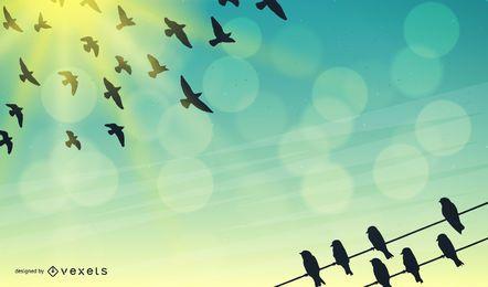 Ilustración de cielo con pájaros