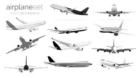 Conjunto de ilustração de avião em preto e branco