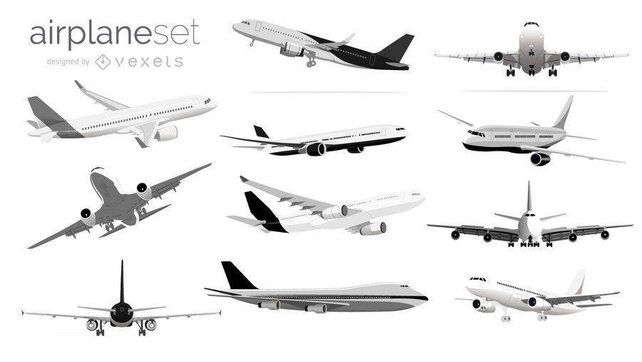 Conjunto de ilustração de avião preto e branco
