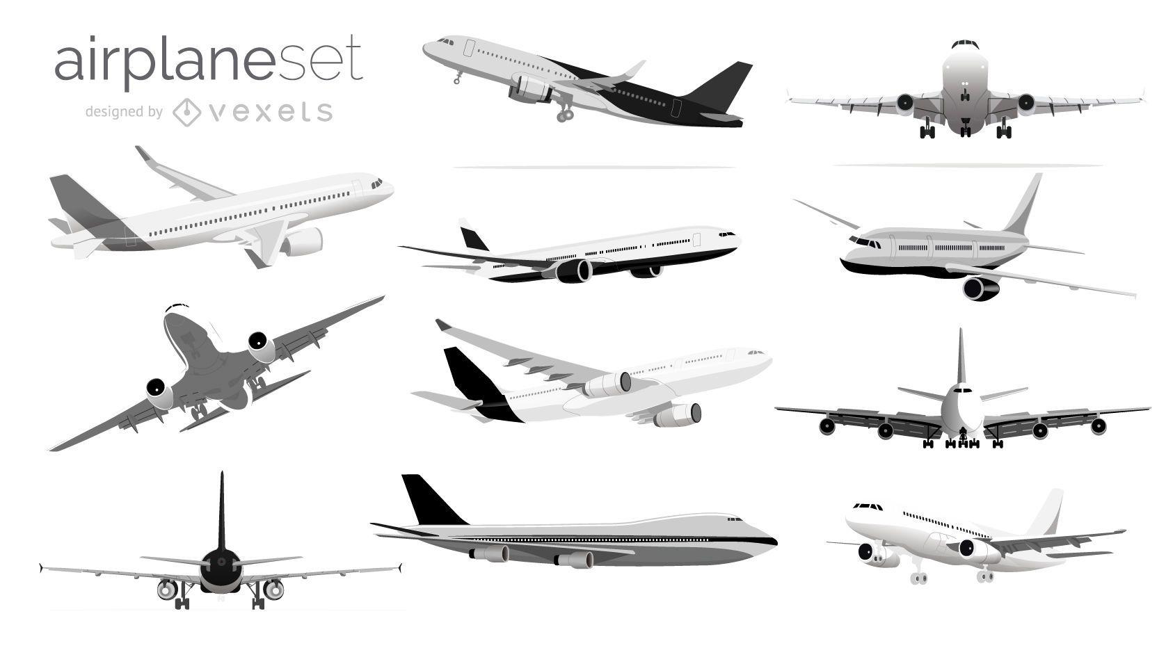 Black and white airplane illustration set