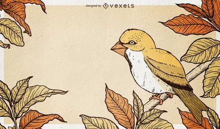 Fundo de ilustração de pássaro