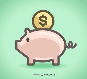 Icono de ahorro de alcancía