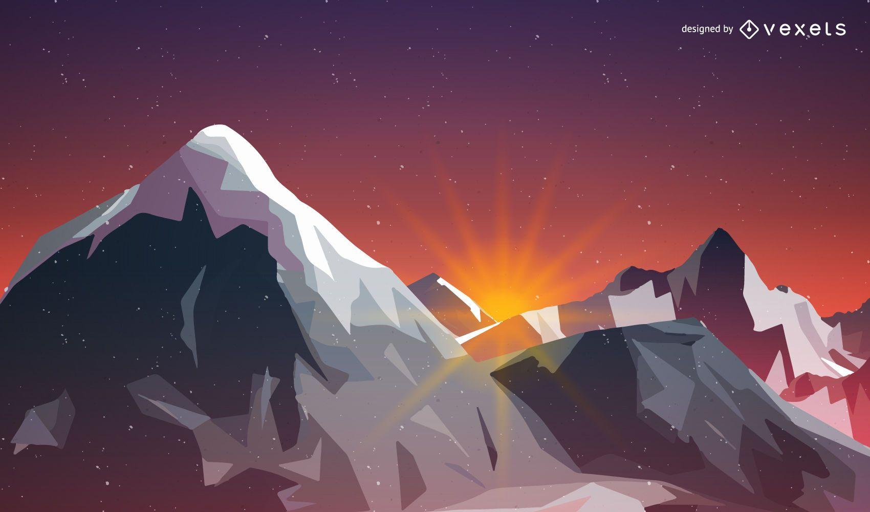Sunrise on the mountains illustration