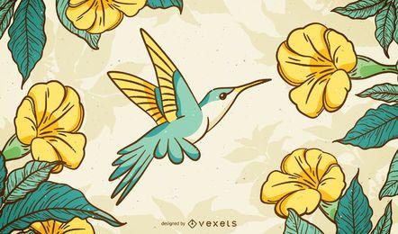 Fundo ilustrado de beija-flor