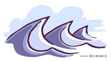 Grande, ondas, ilustração