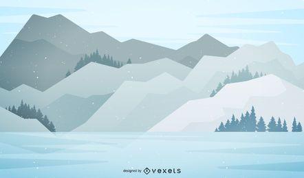 Ilustración de paisaje de montaña cubierto de nieve