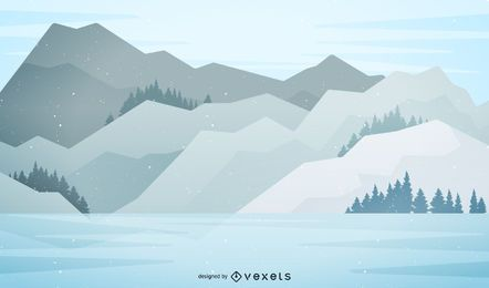 Snowy mountain landscape illustration