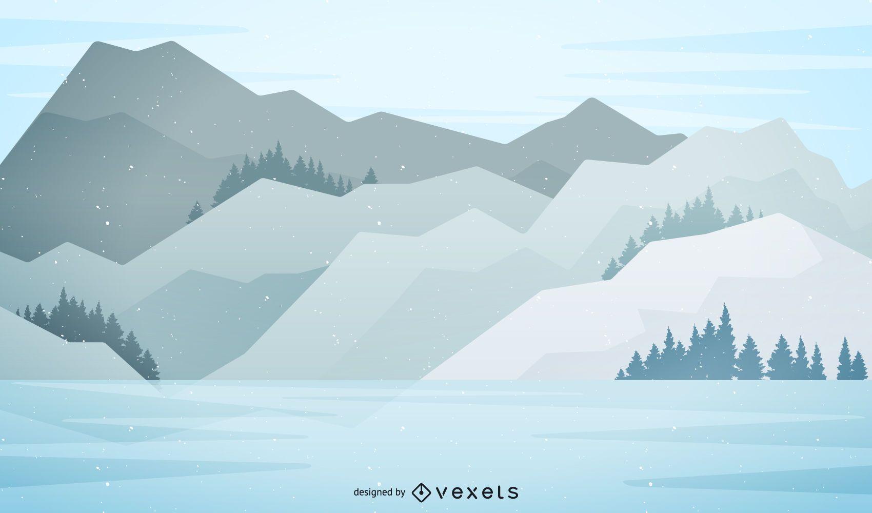 Ilustraci?n de paisaje de monta?a nevada
